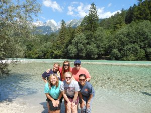 After distributing tracks to a town, we stopped to cool our feet in the freezing cold river!